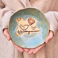 Bird bowl rustic pottery bowl Blue glaze  handmade mama by MarciG, $16.00