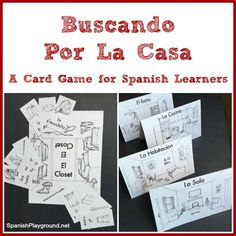 A printable Spanish card game to learn rooms of the house and household items. Based on Go Fish, but with a twist, this game gets kids speaking Spanish.