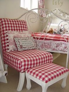 gorgeous chair in red checks!