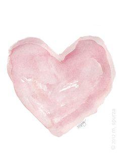 pink watercolor heart, dreamy