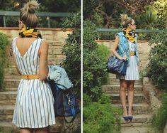 Sheinside Dress, Maliparmi Bag, Zara Vest, Zara Scarf, Zerouv Sunnies, Lefties Heels