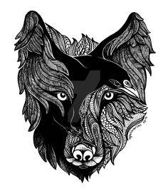 Wolf Raven by Apolinarias.deviantart.com on @DeviantArt