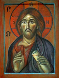 Icon of Christ of Pantocrator, Egg Tempera Painting