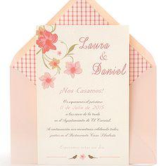 Invitación de boda romántica y elegante con flores en colores pasteles, sobre rosa: La Boheme