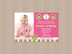 Pink Mod Monkey Birthday Party Invitation by Honeyprint on Etsy, $15.00
