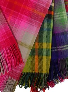 Bright Tartan Lambswool Throws