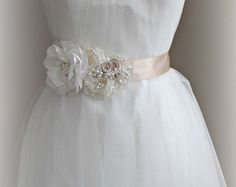 Rustic Wedding Sash Wedding Belt Flower Sash by floraljewellery