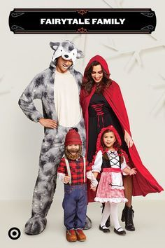 Bring a classic fair  Bring a classic fairytale to life for Halloween with a Little Red Riding Hoodthemed group costume. With the wolf lumberjack grandma and Little Red Riding Hood herself theres an outfit for everyone in the family.