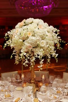 Tall White and Gold Centerpiece