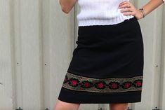 Embroidered woolen winter skirt vintage skirt