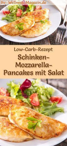 Low-Carb-Rezept für Schinken-Mozzarella-Pancakes mit Salat: Kohlenhydratarme, herzhafte Pfannkuchen - gesund, kalorienreduziert, ohne Getreidemehl #lowcarb #pancakes #pfannkuchen