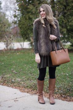 Olive Dress and Fur Vest & Confident Twosday Linkup