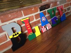 Hand Painted Superhero Letters - for hanging Superhero Letters, Superhero Room, Superhero Party, Painted Letters, Wooden Letters, Hand Painted, Ideas Paso A Paso, Craft Projects, Projects To Try
