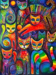Rainbow Cats Acrlylics Canvas Print by Karin Zeller. All canvas prints are pr. Canvas Art, Canvas Prints, Art Prints, Gatos Cats, Cat Art Print, Cat Colors, Colours, Art Graphique, Cat Drawing