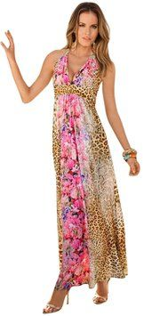 Pink Multi Maxi Dress by Boston Proper Animal Print Snakeskin Floral #BostonProper