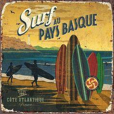 Vintage Illustrations Art Print: Surf Pays Basque by Bruno Pozzo : - Retro Surf, Vintage Surf, Vintage California, Vintage Labels, Vintage Ads, Vintage Images, Vintage Decor, Diy Image, Old Poster