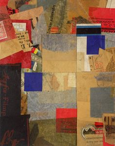 by Kurt Schwitters (This could be a great technique for structuring backgrounds using old book pages and then having figures/silhouettes over the top.)