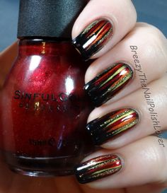 Colormates - I'm Raven About You (black), Pure Ice - Hot Tamale(orange), Excuse Me (yellow), Sinful Colors - Sugar Sugar (red), and LA Colors Art Deco - 24k Glitter (gold glitter).