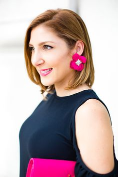 Blame it on Mei Miami Fashion Blogger 2016 Black Cold Shoulder Dress Ruffle Sleeves Classy Look Elegant Wedding Guest Outfit Special Occasion Look YSL Fuchsia Clutch Valentino Rockstuds Sandals in Black Patent