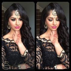 """Gorgeous bombshell curls using Bombay hair 22"""" hair extensions. Flawless makeup using mac cosmetics, la girls cosmetics, anastasia beverly hill and inglot usa.   indian wedding makeup, indian bride, waves, curls, luxorious hair, flawless skin, pink lips, motd, hotd, wedding hair, wedding makeup, indian wedding, sikh wedding, indian jewelry, headpiece, indian headpiece, airbrush, makeup artist"""