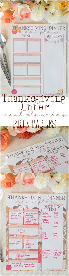 Get organized this year! Get your free Thanksgiving Dinner meal planning printables here - two to choose from, and matching Thanksgiving decorations also available (for free). You'll save SO MUCH time and energy if you plan out your dinner this way!