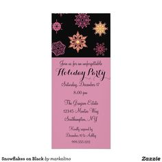 Snowflakes on Black Custom Holiday Invitations Holiday Invitations, Zazzle Invitations, Spa Weekend, December 17, Retirement Parties, Create Your Own Invitations, White Envelopes, Rsvp, Snowflakes