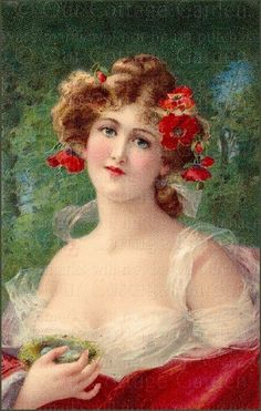 Angelo Asti (Italian, - Beautiful woman with bird nest and poppies (Post card) Vernon, Vintage Prints, Vintage Art, Vintage Girls, Beaux Arts Paris, Victorian Portraits, She Walks In Beauty, Romantic Roses, Woman Painting