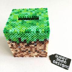 Minecraft dirt block piggy bank perler beads by Super Jade Designs