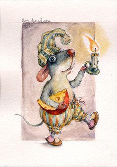 Мышь  крыса акварель рисунки на заказ watercolor postcard art teddy bears dolls toys