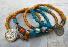 Open your Heart  Tribal gypsy bangle stack sari silk bracelets by beatnheart