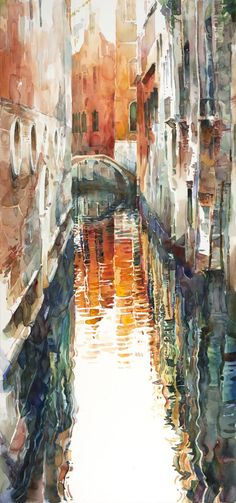 Part of the Venice Alleys series—Venice seen from the angles of back streets and narrow alleys.  The painting is stretched on a frame like a canvas. It can be framed into a shadow box styled frame.
