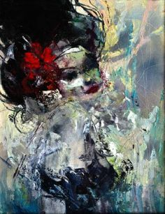 "Saatchi Art Artist Eva Czarniecka; Painting, ""Girl With Red Flower"" #art"