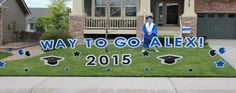 High School Graduations Parker Yard Greetings is a local, family owned business. We provide a unique and fun way to help celebrate any event!  PYG takes pride in helping you surprise someone special, show someone you care, make an announcement or just make someone's day with our exceptional curb appeal.  We will deliver your personalized Yard Greeting after 8pm the night before your event or celebration and pick it up after 8pm the following day. Your yard will be the talk of the neighborhood!