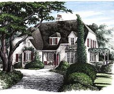 Plan W32431WP: Narrow Lot, French Country, Corner Lot, European House Plans & Home Designs