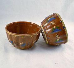 Mexico Redware Pottery Bowls Tlaquepaque Two 1940s