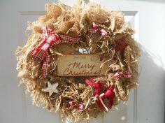 Country Christmas Primitive Burlap Wreath by ChloesCraftCloset, $43.00
