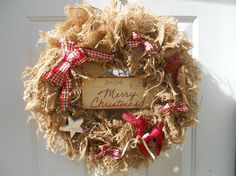 Country Christmas Primitive Burlap Wreath by ChloesCraftCloset, $43.00