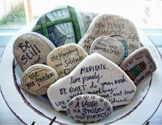 Wiccan Moonsong: Affirmation Stones Many of us have probably seen worry stones sold in the stores. They are oval stones with a hole in the middle of them and usually one word on them. The idea is that when you rub them, they will reduce stress. Today's craft is a bit of a spin on that. I came across this picture on pinterest and I thought the stones were so pretty! :))) Many of you know I love my stones. :)) http://wiccanmoonsong.blogspot.com/2013/09/affirmation-stones.html