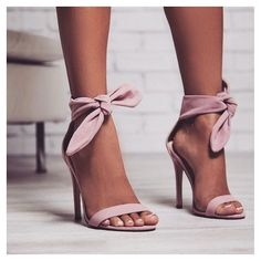 ribbon and bow heels in a light pink colour Light Pink Heels ca92567364