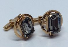 Beautiful Vintage 1960's DESTINO CUFFLINKS with Blue Grey Faceted Crystal Cab | eBay