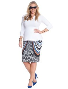 Printed Scuba Pencil Skirt | Women's Plus Size Skirts | ELOQUII