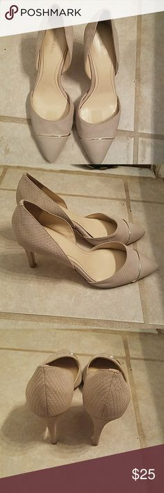 """Nice Calvin Klein hills. In great condition. Nice pair of cream color Calvin Klein hills in excellent condition. They are leather and suede, with a 3"""" hill. Calvin Klein Shoes Heels"""