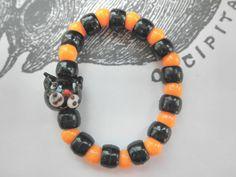 Halloween Party Favors Stretch Black Cat Bracelets Set of 4