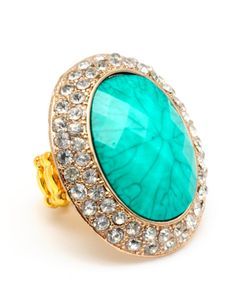 Culver Stone & Crystal Stretch Ring     #Turquoise #Stone #Ring     www.kumarii.com