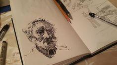 Перестал рисовать карандаш.  Продолжил рисовать ручкой. Перестала рисовать ручка. Продолжил линёром.  #drawing #illustration #portrait #sketch #pencil #sketchbook #art #artwork #painting #eskiz #портрет #рисунок #карандаш #набросок #эскиз