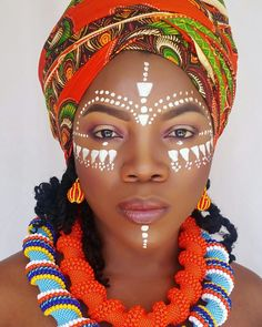 <img> African face painting and Zulubeads. African Tribal Makeup, African Beauty, African Art, African Fashion, Tribal Fashion, Black Women Art, Beautiful Black Women, Face Painting Designs, Body Painting