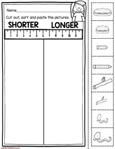Kindergarten Measurement and Data worksheet - cut and paste shorter and longer activity