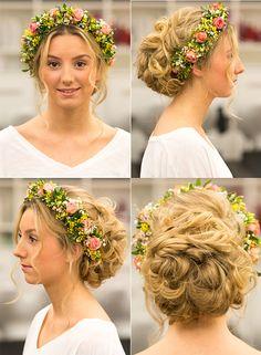 diy blumenkranz f rs haar mit echten blumen wedding hair pinterest selber machen. Black Bedroom Furniture Sets. Home Design Ideas