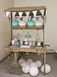carrito dulces en tonos blanco y verde agua