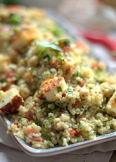 Tabbouleh with cheak pea and halloumi